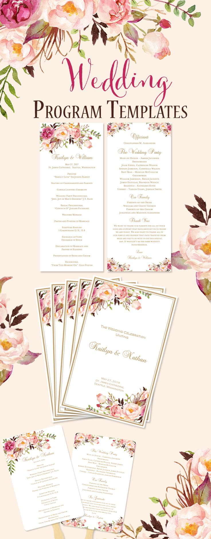 DIY Printable Program Templates in beautiful Watercolors. All options are editable by you within Word and instant downloads. We offer Catholic Order of Service, Fold-over Programs, Slim Tea Length and Wedding Program Fans.
