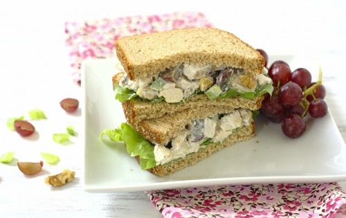 with Greek yogurt instead of mayo, whole grain bread, chicken, nuts ...