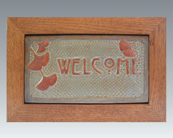 Framed Gingko Leaf Welcome Sign Arts and Crafts by FayJonesDayTile