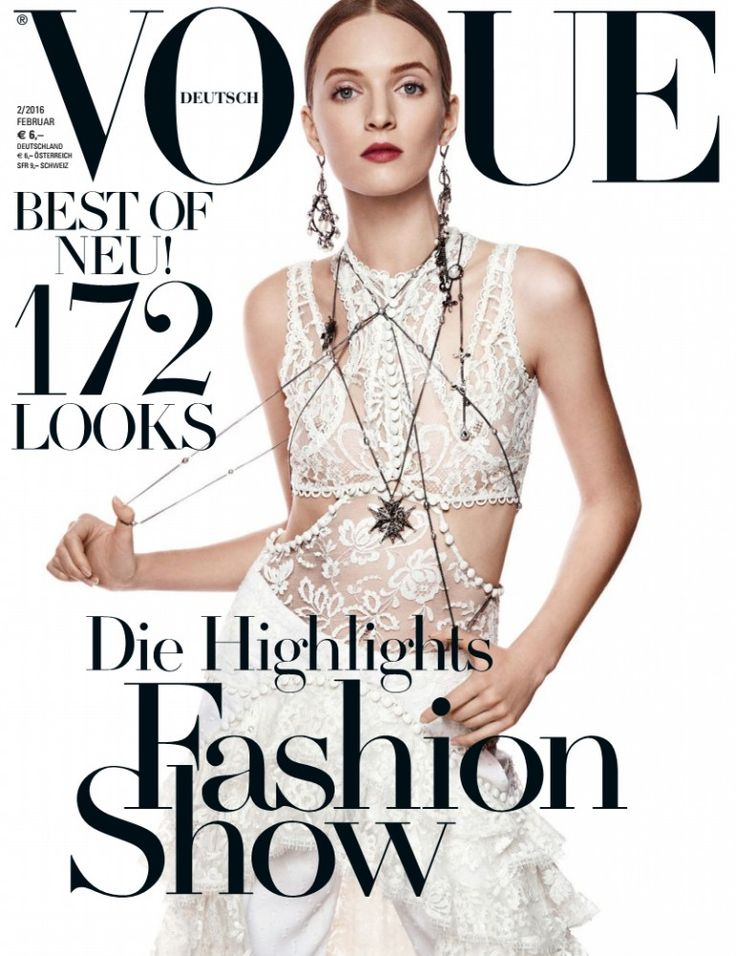 Daria Strokous by Giampaolo Sgura for Vogue Germany February 2016 cover - Alexander McQueen Spring 2016
