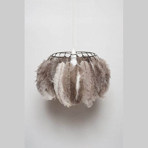 Ostrich Feather And Stainless Steel Lampshade