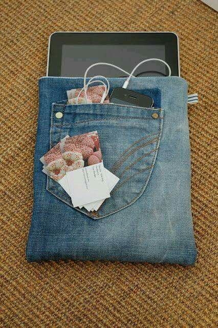 Cover for mobile and tablet jeans  DIY Crafts handmade