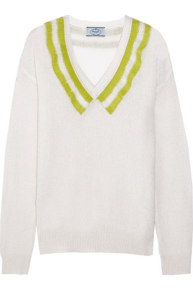Cream and leaf-green cashmere Slips on 100% cashmere Dry clean Designer color: Natural/ Pistachio Made in Italy