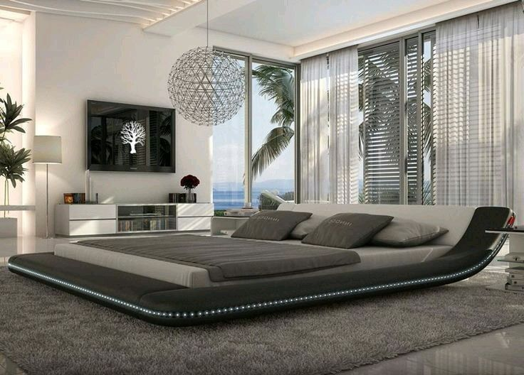 Modern Black Platform Bed With LED Lighting   King Modern Platform Beds