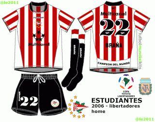 Fútbol Mundial Kits - Uruguay: Estudiantes de La Plata - 2006 (home, away y libertadores)