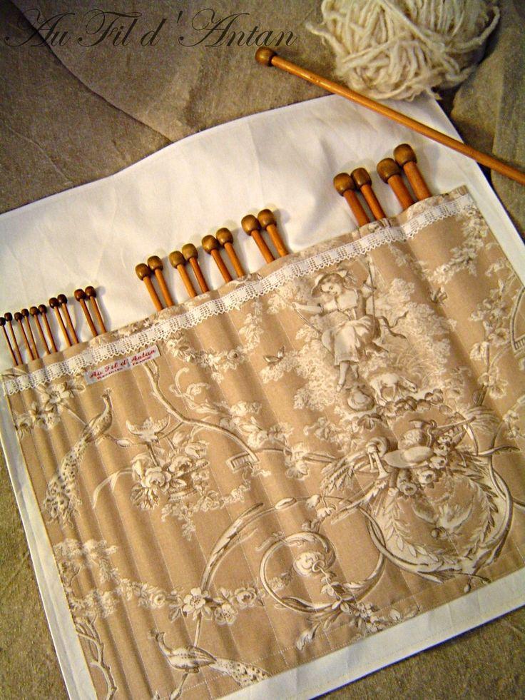 Range - aiguilles à tricoter en toile de Jouy et dentelle