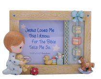 Precious Moments Photo Frame: Boy With Bear, Jesus Loves Me