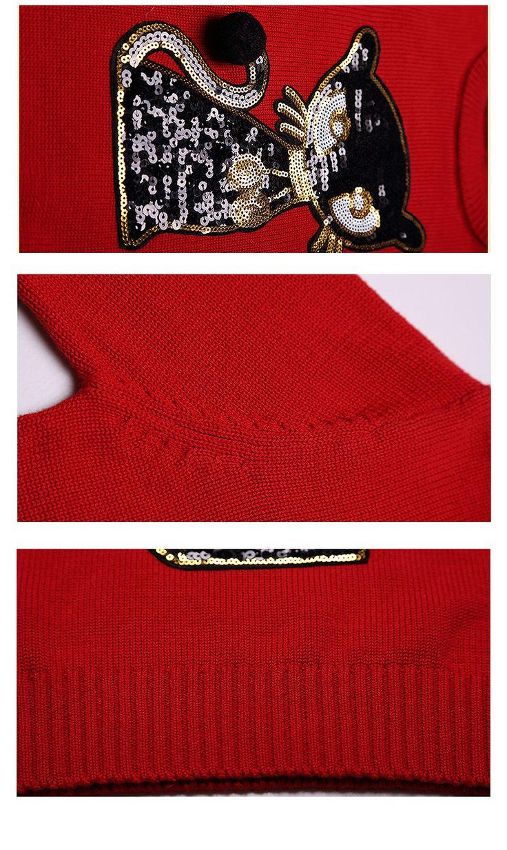 Большой круглый шею пуловер свитер девочки женский кот моды блестки хлопок свитер вязать свитер Бесплатная доставка - Taobao
