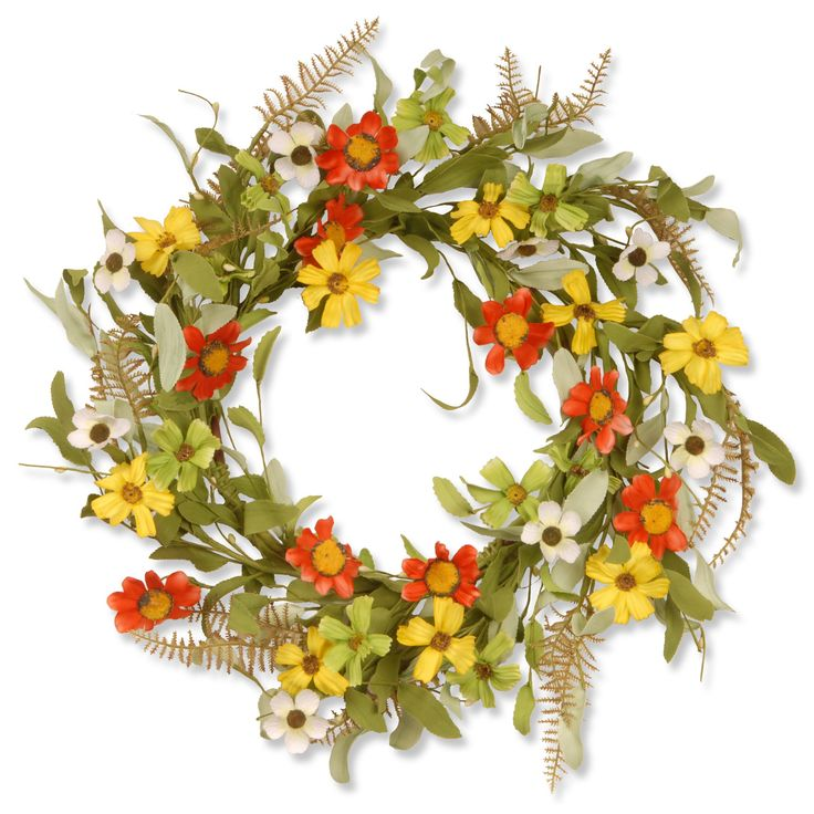This lush green wreath features yellow and red flowers. With its sturdy plastic construction, this piece is great for both indoor and outdoor use. Colors/finish: Red, yellow Materials: Plastic Setting