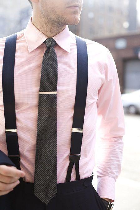 Pale blush pink w/ suspenders black tie