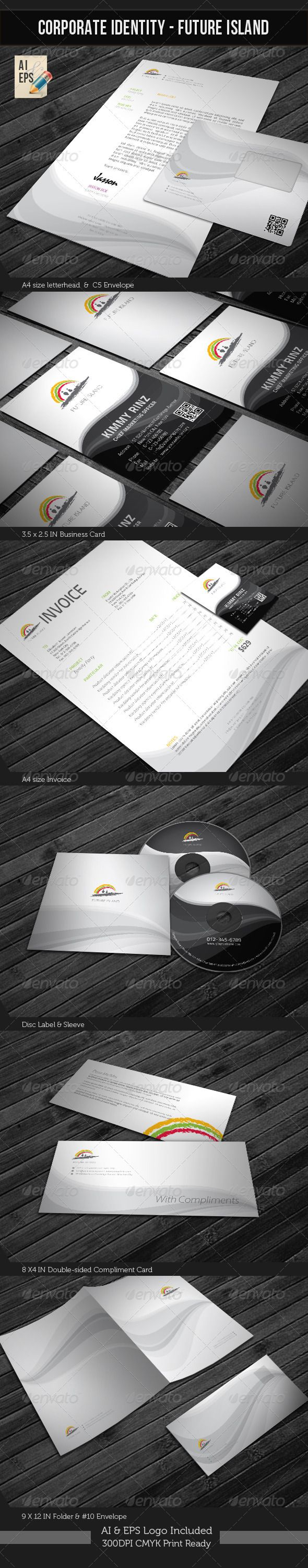 Corporate Identity Package - Future Island #GraphicRiver Corporate Identity Package – 'Future Island' contains: 1. Letterhead : A4 size 2. Invoice : A4 size 3. Business Card : 3.5X2.5 in 4. C5 Envelope 5. #10 Envelope 6. Disk Label 7. Disk Sleeve 8. Compliments: 8X4 in 9. Presentation Folder: 9×12in [ Featured Items] [Wedding Invitation/ Greeting Card] ; Wedding Invitation Package Corporate/Anniversary Invitation Template Baby Shower/Announcement CARD Template Night Club Flyer Corporate…