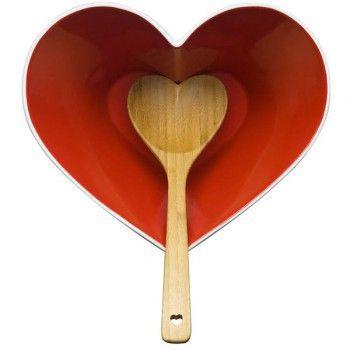 Miska w kształcie serca z bambusową łyżką marki Sagaform - Decorto
