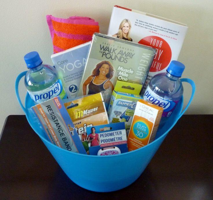 gift basket, wellness, mindset, pedometer, workout dvd, strength training, weight
