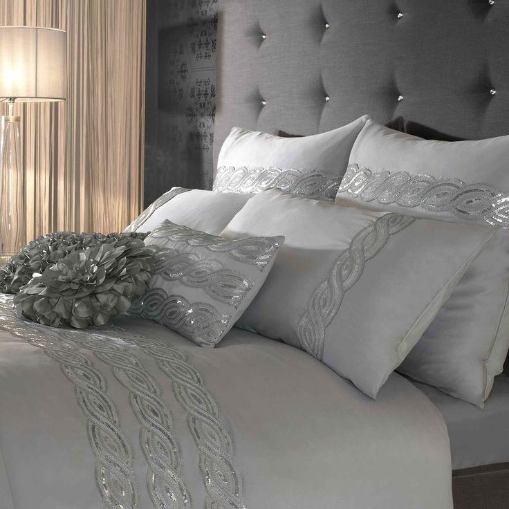 sequin silver bedding