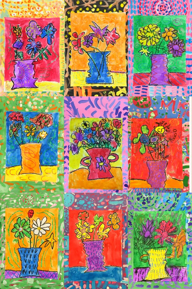 PARK ART SMARTIES: Gr. 1: Flower Power Still Life (oil pastel & watercolor, tempera border)