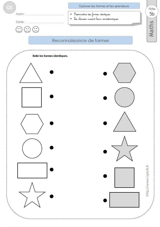 GS: EXERCICES MATHEMATIQUES Reconnaitre des formes géométriques en materne… en 2020 | Maternelle ...