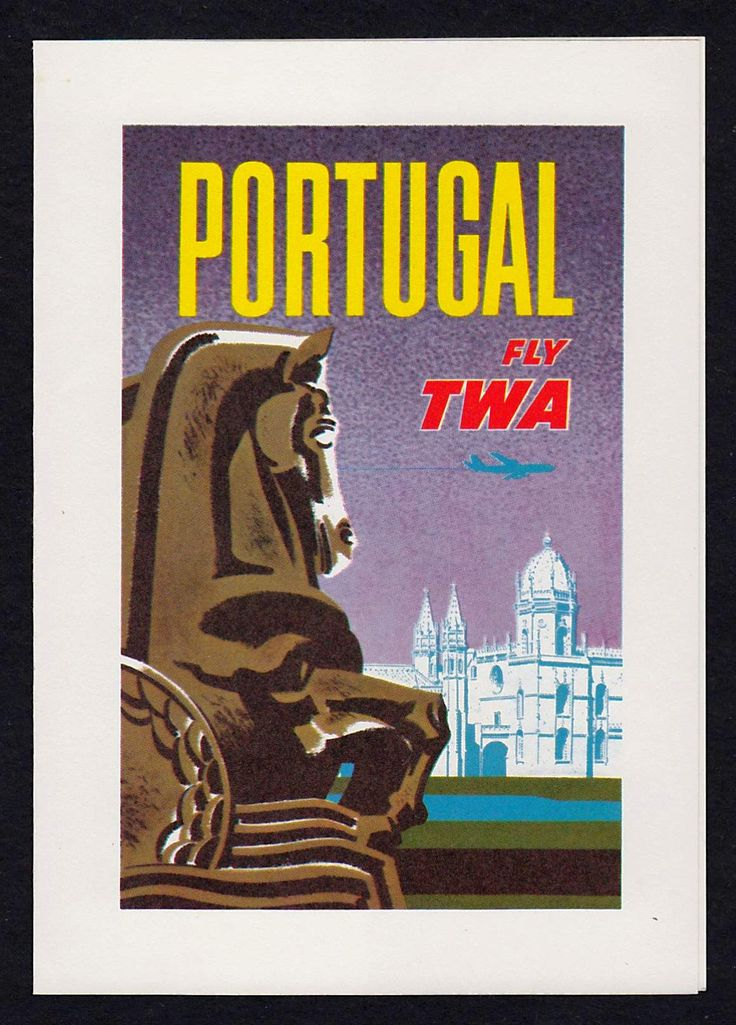 TWA Trans World Airlines Portugal Flight Vintage Graphic Advertising Greeting Card