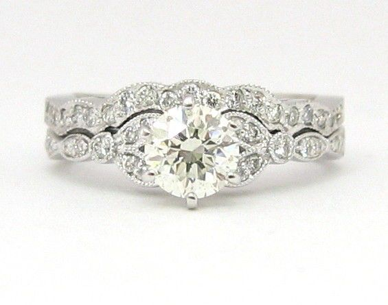 Round antique diamond engagement ring and band 18k 1.10ctw by KNRINC on Etsy https://www.etsy.com/listing/50950056/round-antique-diamond-engagement-ring