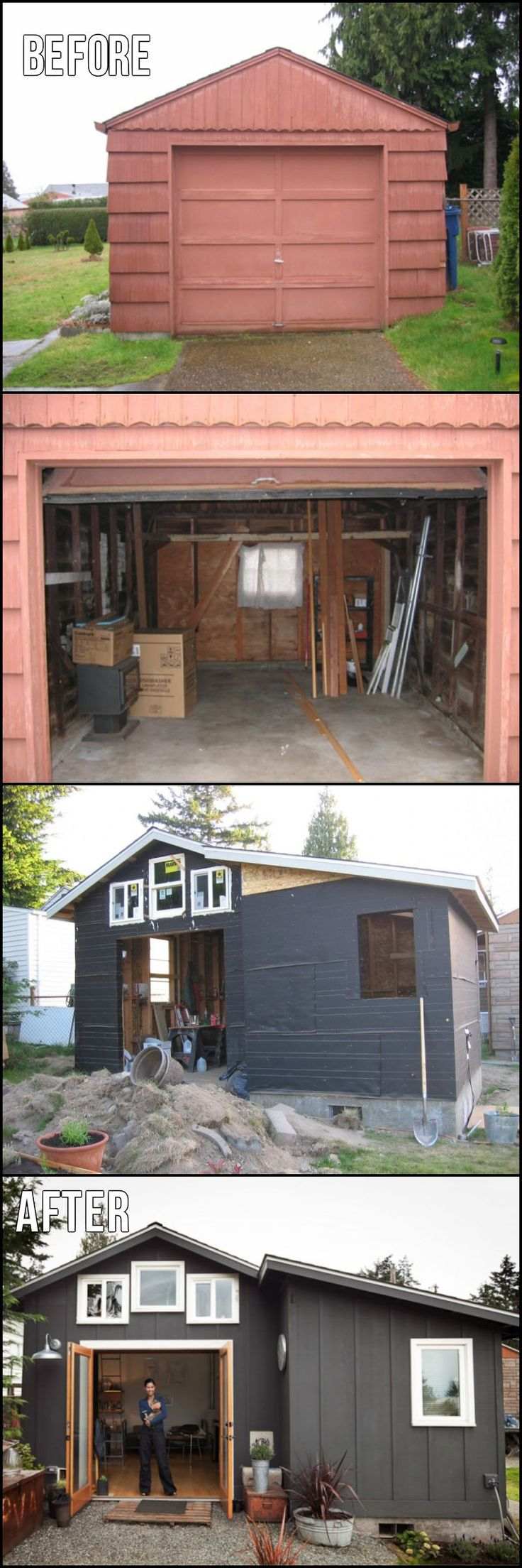 Michelle de la Vega is a visual artist, designer, welder.  Here is her conversion of an old, disused garage into a 23 m2 (250 sq ft) mini-home:  http://architecture.ideas2live4.com/2015/08/09/garage-transformation/  Do you have other ideas on how to use a small garage?