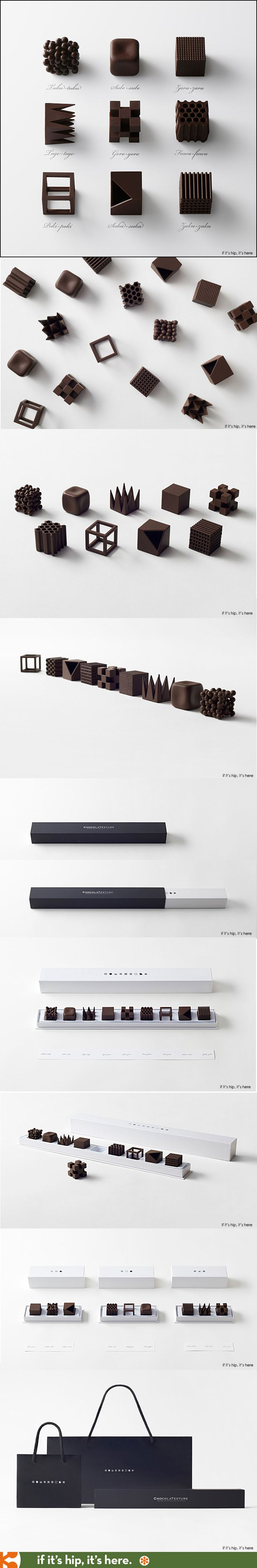 I don't know what's prettier, the chocolates or the packaging. ChocolaTexture by Nendo.