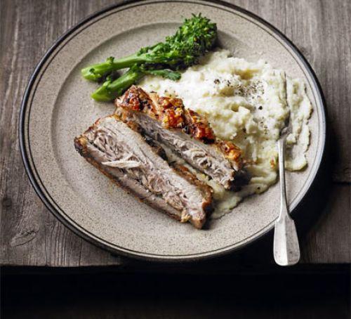 Slow-roast pork belly with celeriac & pear mash (recipe) | Silvano Franco, via BBC Good Food