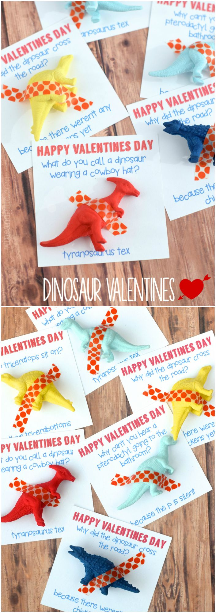Dinosaur Valentine | wineandglue.com | A cute Dinosaur Valentine that comes complete with a funny joke! What more could you ask for?