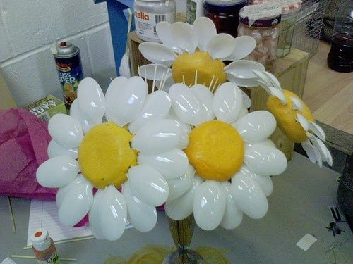 flowers made with plastic spoons