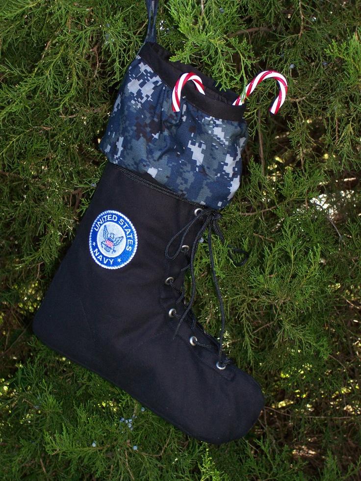 US Navy Christmas stocking. $29.99, via Etsy.