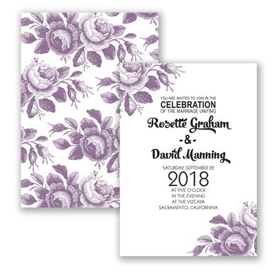 Toile Roses Wedding Invitation in Wisteria Purple by #davidsbridal #invitations #purpleweddingDavid Bridal, Davids Bridal, Davidsbridal Invitations, Wedding Invitations, Rose Wedding, Belle, Toile Rose, Bridal Colors, Invitations Purplewedding