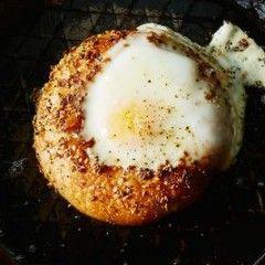 Egg in a Bagel Hole For Breakfast