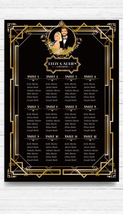 mariage Gatsby original vintage et rétro chic noir et or - plan de table de salle placement invités. Chic des années folles – Charleston années 20 - portrait dessin caricature d'après photo © www.studio-postscriptum.fr