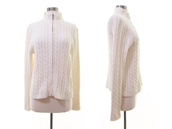 100% Cotton Sweater Cable Knit sweater Zip Up Sweater Ivory