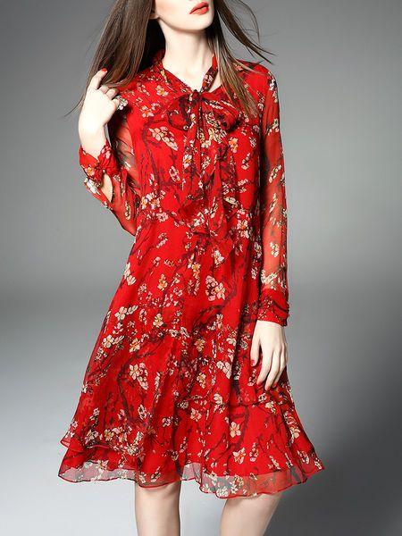 Printed Bow Silk-blend #Midi #Dress