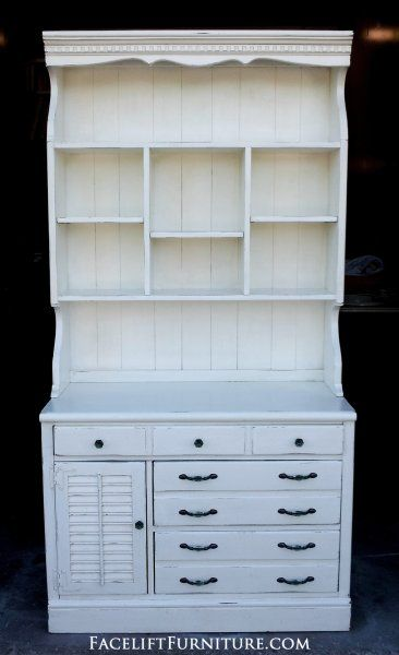 Ethan Allen Pine Hutch in distressed Antiqued White. From Facelift Furniture's Antique White Furniture collection.