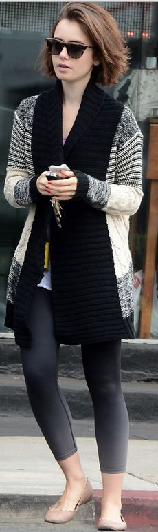 gray stripe cardigan sweater, tan scallop ballet flat shoes, and brown sunglasses ....................