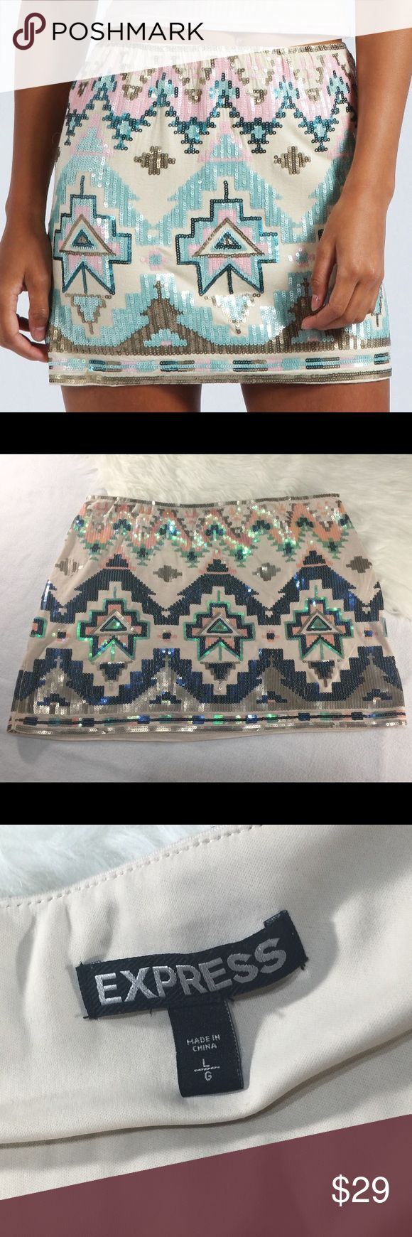 Express Aztec Sequin Skirt size Large Express Aztec Sequin Skirt size Large, beautiful and perfect for a night out. Express Skirts Mini