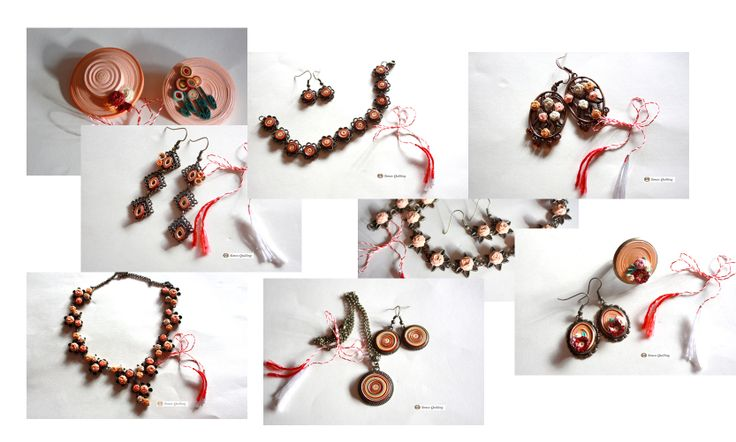 peach collection - earrings, necklace, brooch,