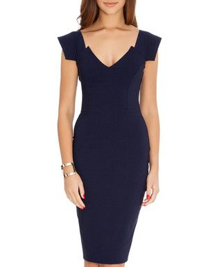 Navy V-neck fitted dress Sale - Goddiva Sale