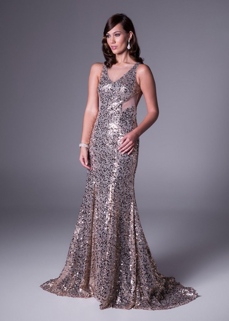 A special dress for a special occasion. This glamorous gold  dress with sexy mesh insert and all-over sequin effect will take his breathe away. Click to Book a Fitting or View the Price (style VC2912).