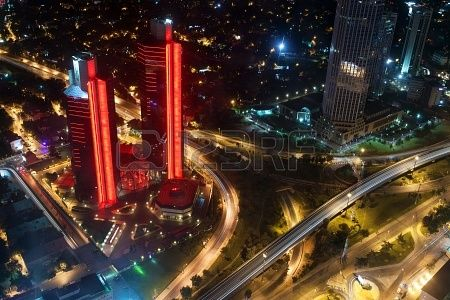 Istanbul, Turkey - July 28, 2012  Aerial view of the city downtown and skyscrapers from Istanbul Sapphire,Turkey  (By E.Sezer)