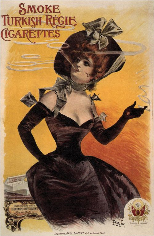 Vintage Tobacco Poster By Jean De Paleologue 1895 The Illustrates A Woman Dressed All In Black Smoking Cigarette This Is Printed