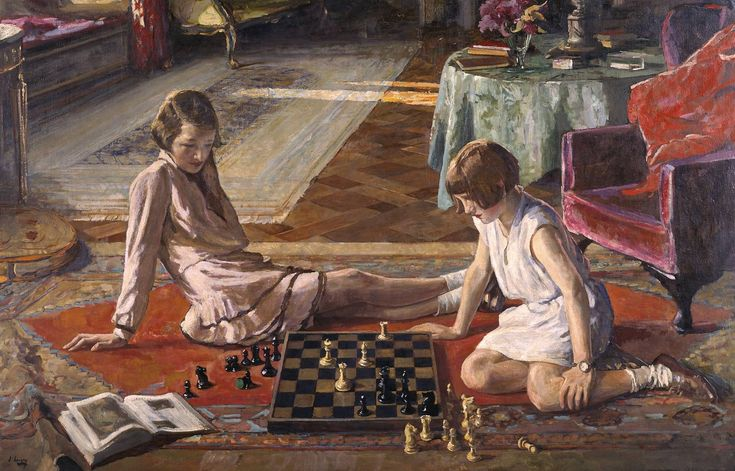 """The Chess Players"" (1929), from the Irish painter Sir John Lavery (1856‑1941) - Oil paint on canvas"