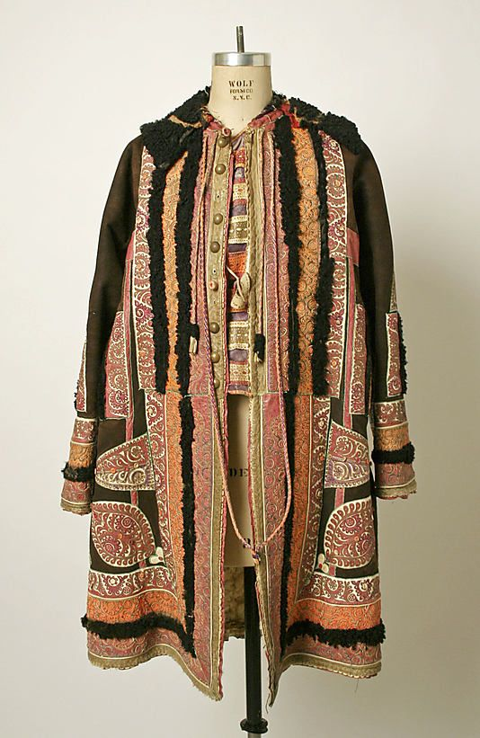 Romania, coat, leather, brass & cotton, 1875-1925 aprox.