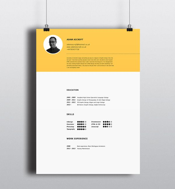 15 best portfolio images on Pinterest Resume cv, Cv design and - Eye Catching Resume