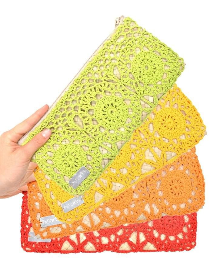 Cute idea for a crochet-covered fabric clutch.