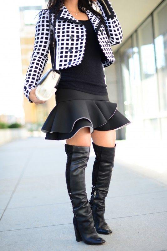 Grid Jacket and Peplum skirt in black and white, LAMB jacket, ASOS ...