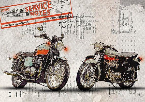 Triumph Bonneville moto classique Vintage par FlyingpentaDesign
