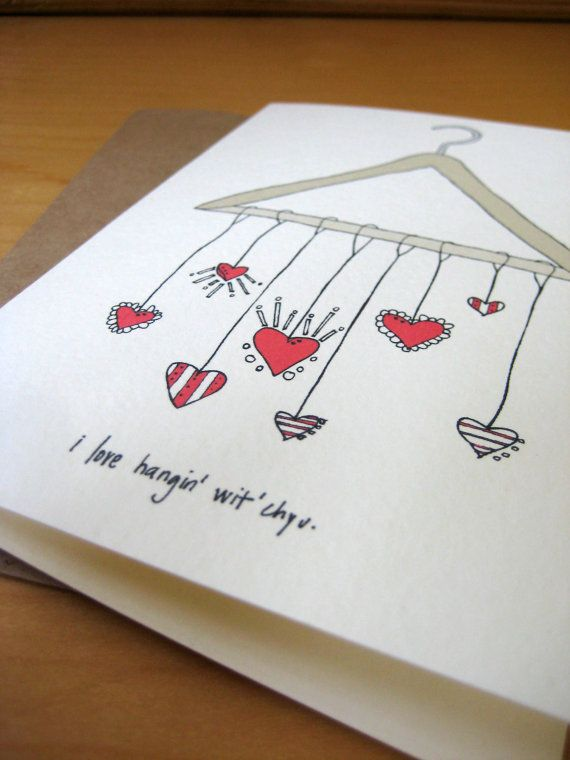 I love red hearts...anything with red hearts. They add cuteness everywhere. Hang out with you card