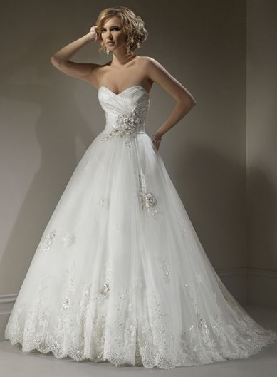 Ball Gown Sleeveless Tulle Floor-length bridal gown #so want this♥