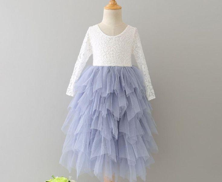Veronica Soft White Eyelash Long Sleeve Lace with a Country Blue Long Tutu Skirt - Princess Dress